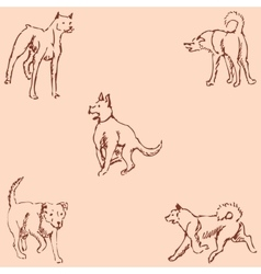 Dogs Sketch pencil Drawing by hand Vintage vector image