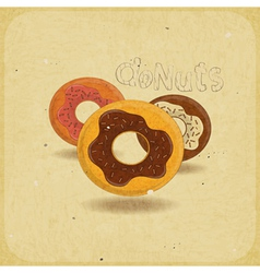donuts on vintage background vector image vector image