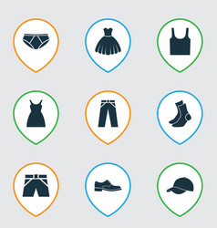 Dress icons set collection of trunks cloth half vector