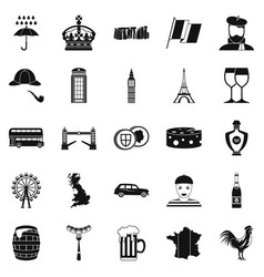 England icons set simple style vector