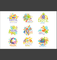 exotic tropical summer vacation set logo vector image