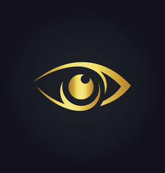 Eye vision icon gold logo vector