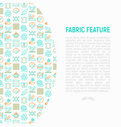 fabric feature concept with thin line icons vector image