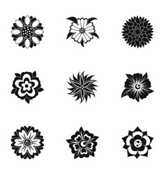 Fantasy flower icon set simple style vector