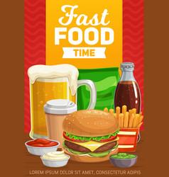 Fast food burgers drinks and snacks menu vector