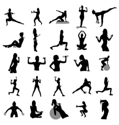 Fitness silhouettes set vector image