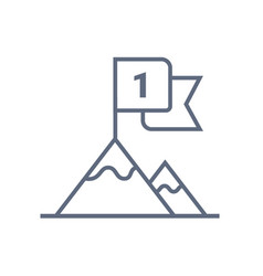 flag on mountain top line icon outline vector image