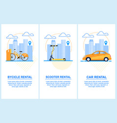 Flat banner set bycicle scooter car rental vector
