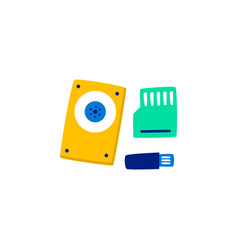 flat electronic digital storage media vector image