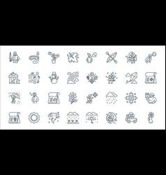 Flat season line icons linear set quality line vector
