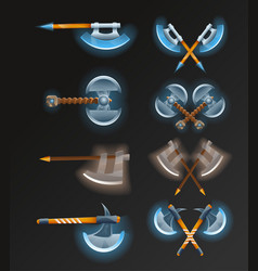 Game element set with crossed medieval hatchets vector