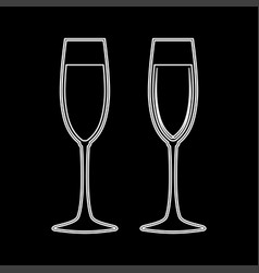 glass of champagne white color icon vector image