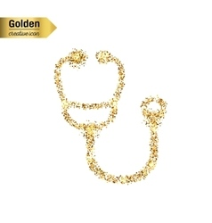 Gold glitter icon of Stethoscope isolated vector image