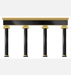 Golden black classic arch portal columns facade vector