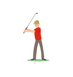 Golf player in red t-shirt and cap swinging club vector