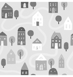 Grayscale houses pattern vector image vector image