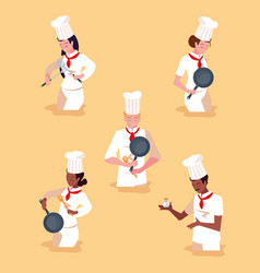 Group professionals chef cooking vector