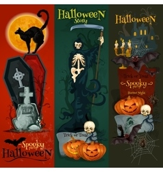 Halloween celebration decorative greeting cards vector