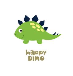 Happy dino cute dinosaur vector