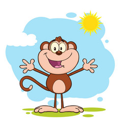 happy welcoming monkey cartoon character vector image