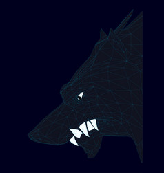 head of a polygonal black wolf 3d vector image