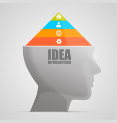 head with a pyramid vector image