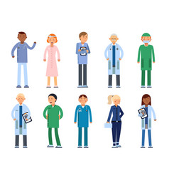 Healthcare people in hospital pharmacist doctor vector