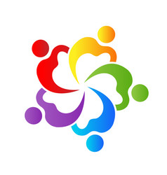 Heart group team people logo vector