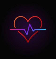 heart pulse colored outline icon or design vector image