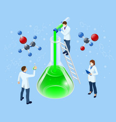 Isometric doctor team while working analysis lab vector