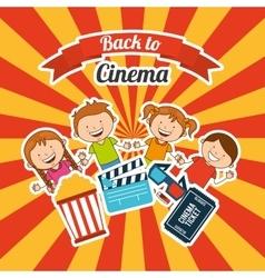 kids moviegoers vector image