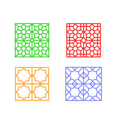 Large square window frame with islamic pattern vector