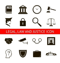 Law legal justice icons and symbols isolated vector