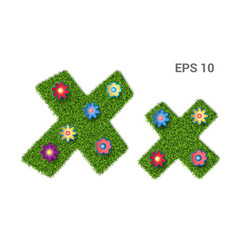 letter xx with a texture of grass and flowers vector image
