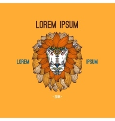lion head logo in boho style vector image