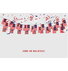 malaysia garland flag with confetti vector image