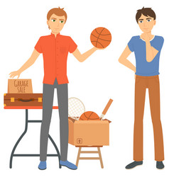 Man selling basketball ball garage sale vector