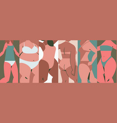 mix race women different height figure type and vector image