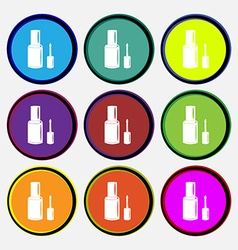NAIL POLISH BOTTLE icon sign Nine multi colored vector