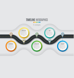 Navigation map infographic 5 steps timeline vector