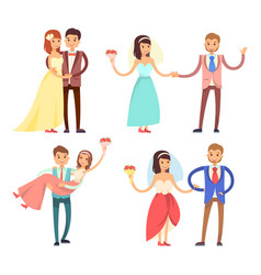newlyweds celebration set vector image