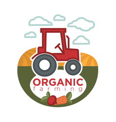 organic farming logo template with agrimotor on vector image vector image