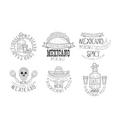 original mexican logos for restaurants vector image