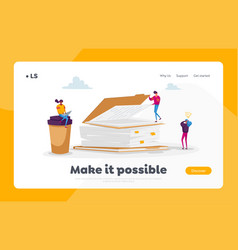 Paper documents landing page template busy office vector
