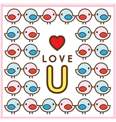 Pattern Couple Bird Love U vector image