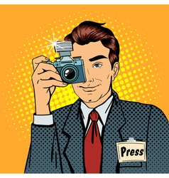 Photographer Paparazzi Reporter with Camera vector