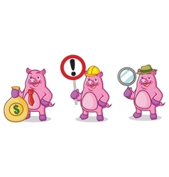 Purple Pig Mascot with sign vector image vector image