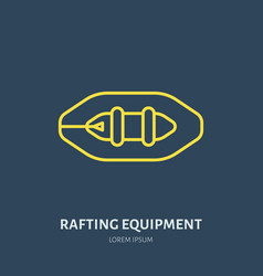 Rafting kayaking flat line icon vector
