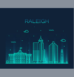 raleigh skyline north carolina usa linear vector image
