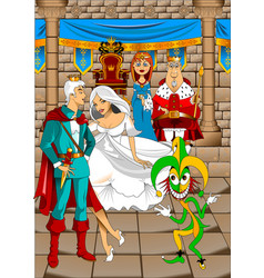 Royal family and jester vector
